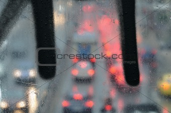 city traffic on rainy day
