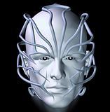 cyberpunk with futuristic tribal mask illustration