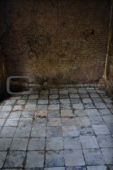 dirty tiled floor and brick wall empty room