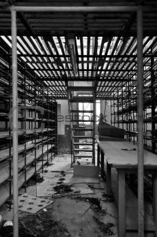 empty shelves in storage room