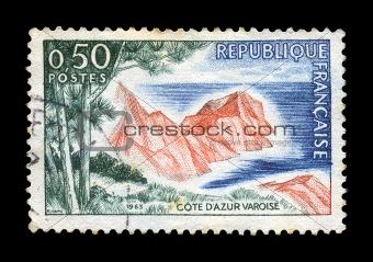 french riviera cote azur postage stamp