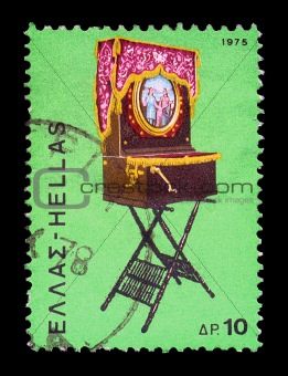 greek laterna portable barrel piano vintage postage stamp