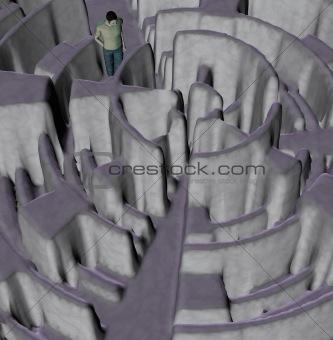 man lost in maze illustration