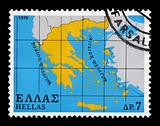map of greece postage stamp
