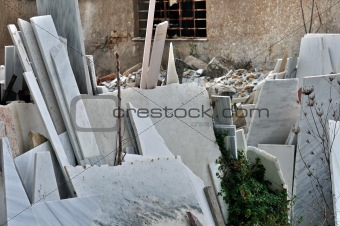 pieces of marble in factory yard