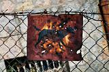 rusty beware of the dog sign
