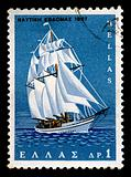 sailboat vintage postage stamp