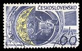 moon research space exploration postage stamp