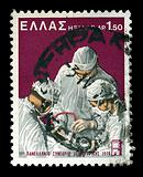 surgeons performing surgery vintage postage stamp