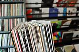 vinyl records at record store