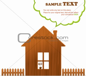 Wooden home, fence and cloud, vector illustration