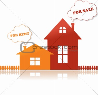 Houses for sale and for rent, vector illustration