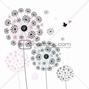 background of decorative dandelions