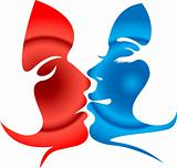 woman kissing shape