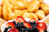 light Breakfast  croissants and Berries on a table