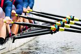 Close up of men&#39;s rowing team