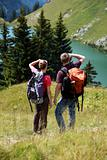 Young people hiking in the mountains