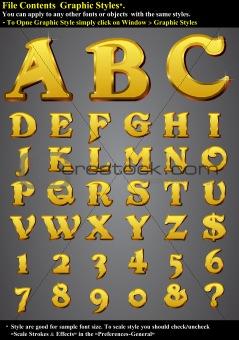 Set Gold 3D Alphabet