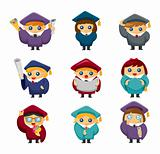 Cartoon Graduate students icons set