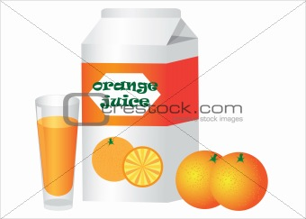 Box and glass with orange juice