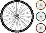set multicolored bicycle wheels isolated on white