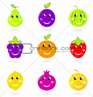 Cartoon smiling fruit characters icon set isolated on white