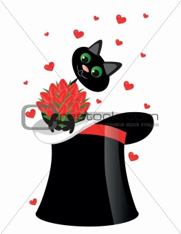 cat holding a flowers