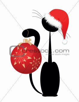 black Christmas kitten