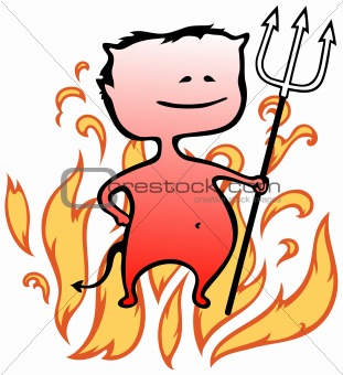 Little devil with flames in background - Halloween - vector illustration in cartoon style
