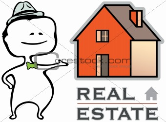 Real estate - a real estate agent and a house - vector illustration in cartoon type