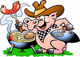 Hand-drawn Vector illustration of an Pig standing and making BBQ