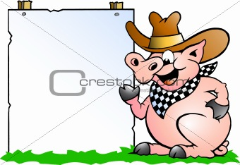 Hand-drawn Vector illustration of an Pig Chef in front of a sign