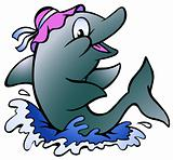 Hand-drawn Vector illustration of an Dolphin playing in the blue