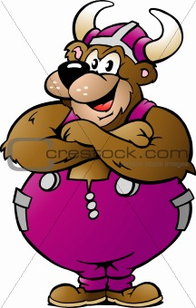 Hand-drawn Vector illustration of an Viking Bear in Purple