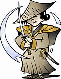 Hand-drawn Vector illustration of an Japanese Samurai