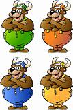 Hand-drawn Vector illustrations of 4 Viking Bear in Colored Over