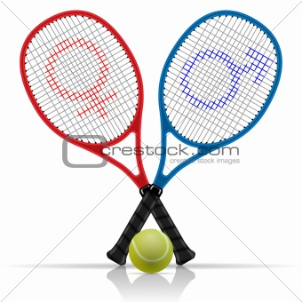 Rackets with tennis ball