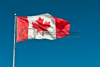 Waving Canadian Flag with Blue Sky