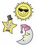 Cartoon Sun Moon and Star