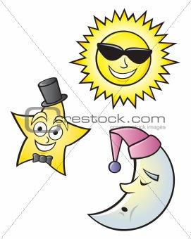 Cartoon Sun Moon and Star