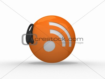 3d illustration of rss symbol with headset, orange sphere over w