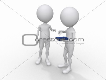 3d rendered illustration of two business guys