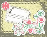 Vintage flower frame design for greeting card
