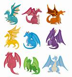 cartoon fire dragon icon set