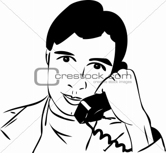 sketch of a guy talking on the phone