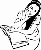 sketch of a girl at a table in a book