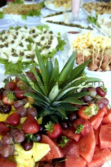 appetizers and fruit salad