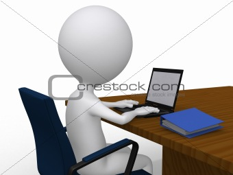 3D business man on his desk with laptop - isolated over a white
