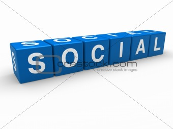 3d blue social cube