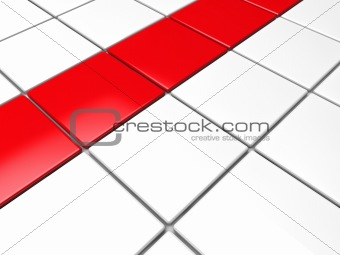3d red white cube background